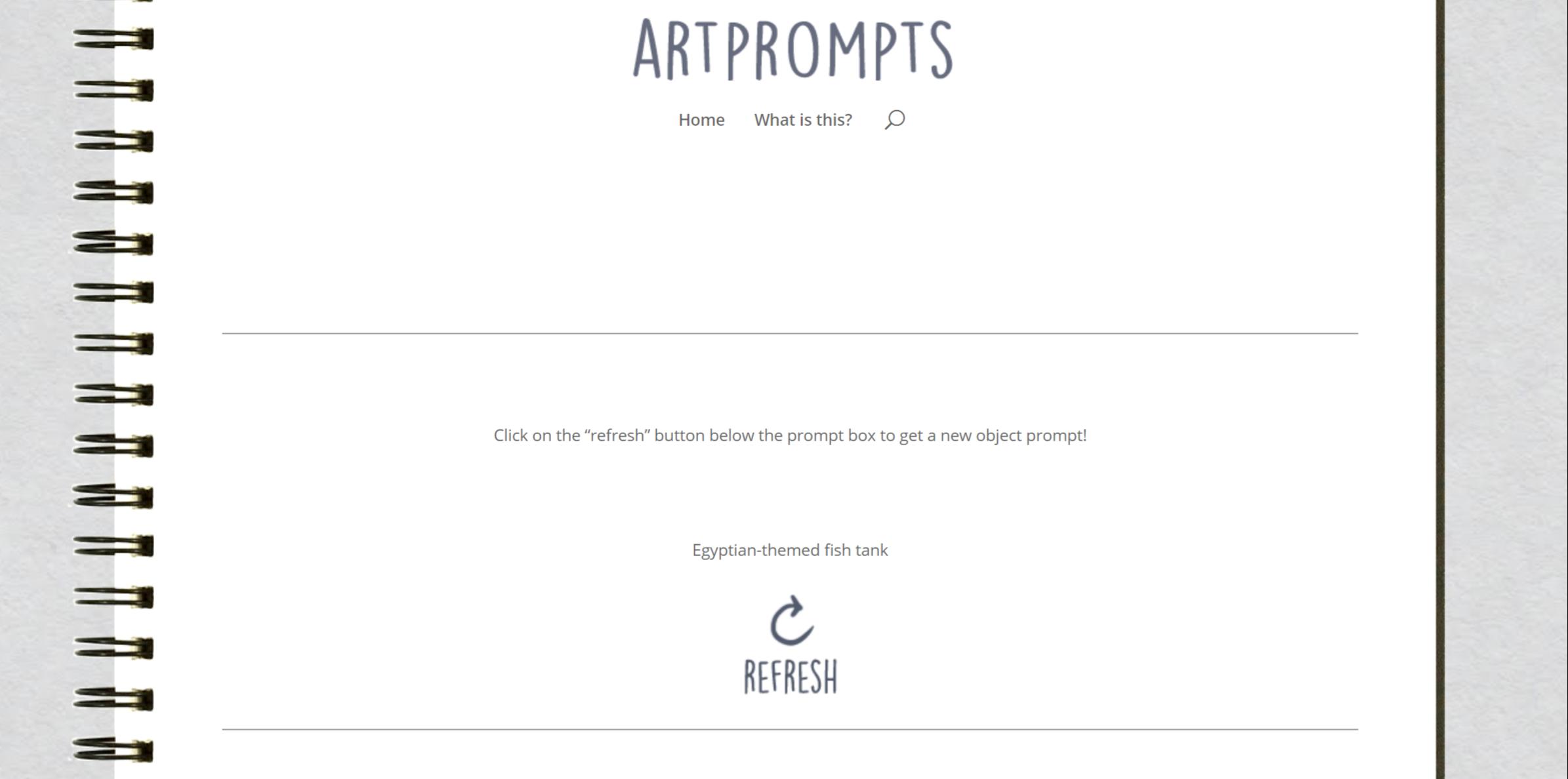 Screenshot of the ArtPrompts drawing idea generator