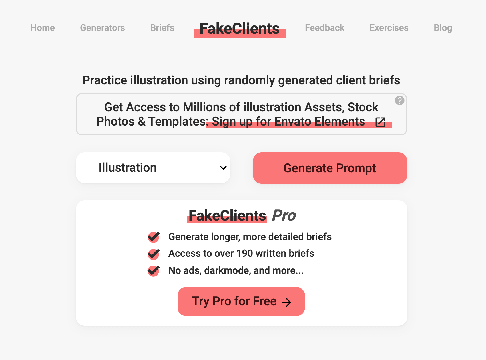 Screenshot of the fakeclients drawing idea generator