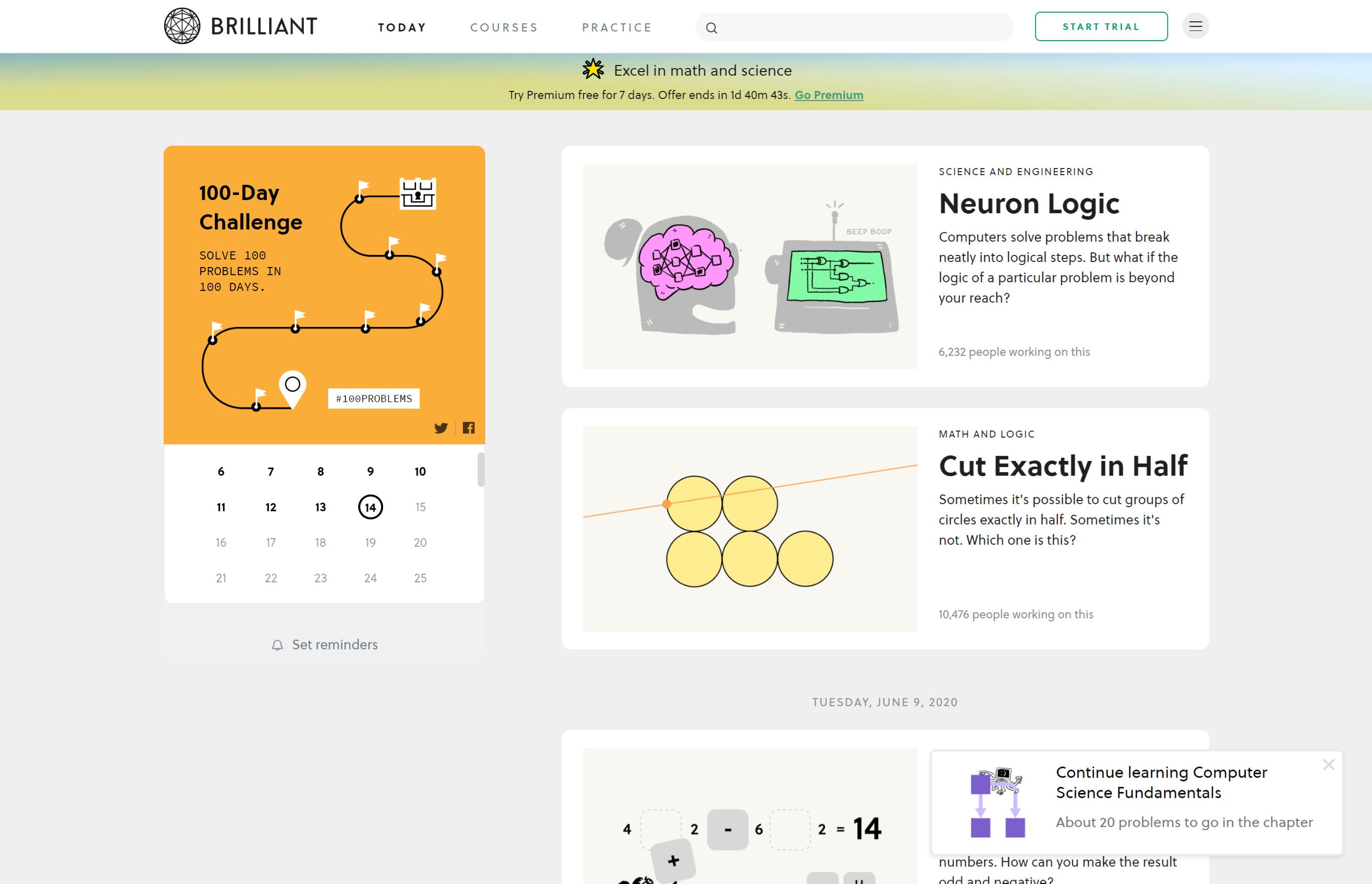 A screenshot of Brilliant's course library - Skillshare vs Brilliant