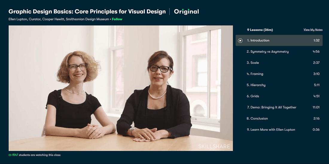 A still from the Skillshare course 'Graphic Design Basics: Core Principles for Visual Design'