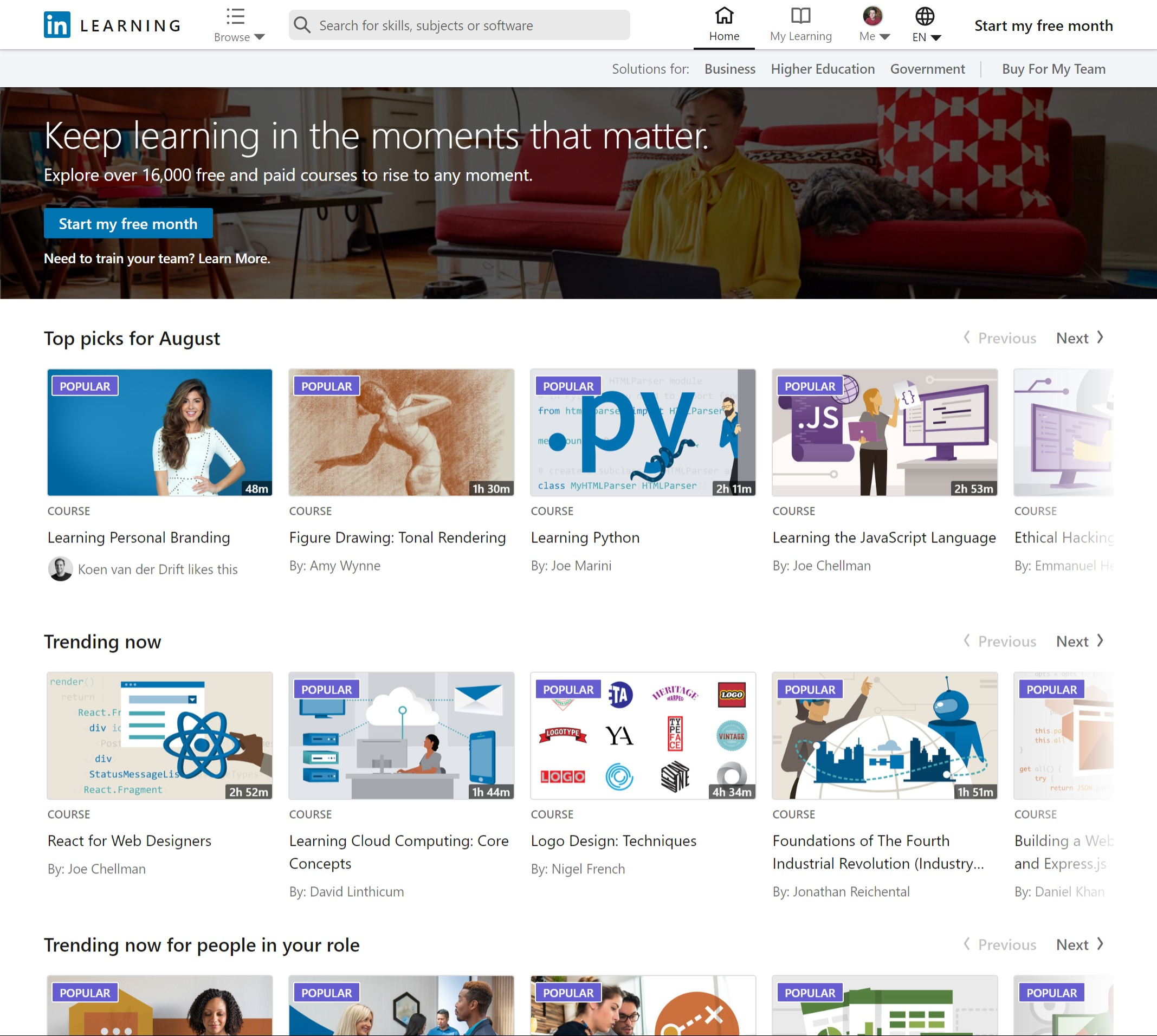 A screenshot of LinkedIn Learning after is was merged from Lynda.com