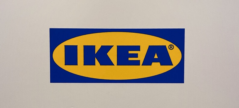 Ikea logo attached to a wall
