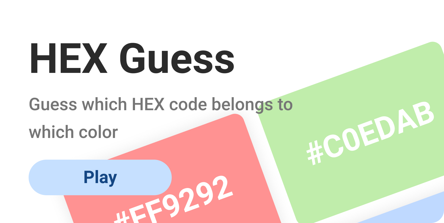 HEX color guessing game for graphic designers