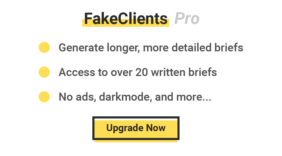 FakeClients - Generate Fake Design Client Briefs for Graphic